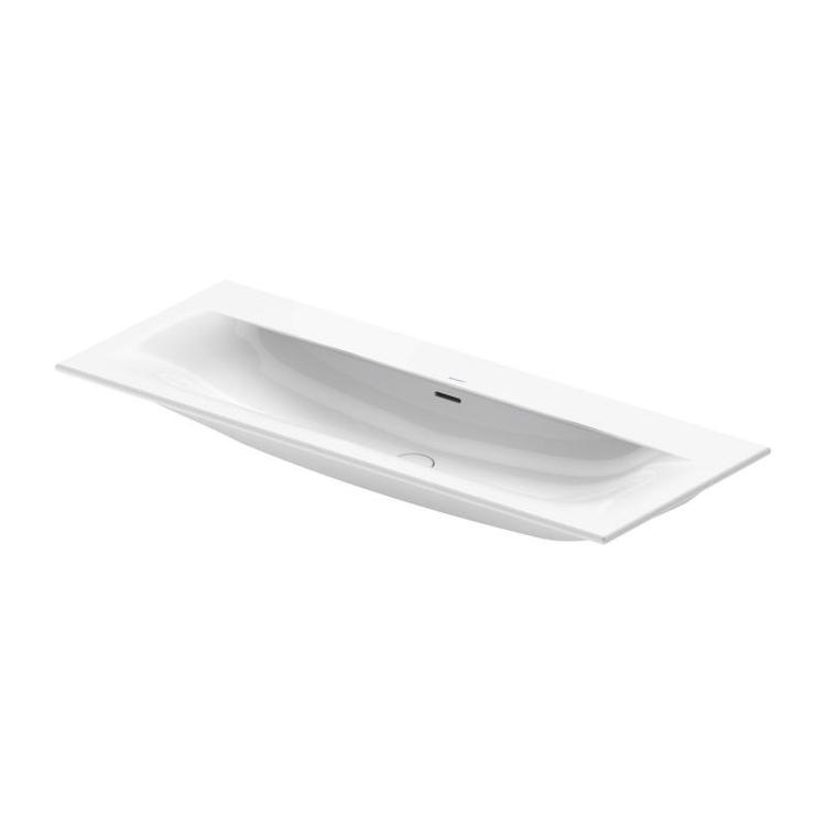Duravit VIU lavabo consolle 123 cm, con troppopieno, lato inferiore smaltato, WonderGliss, colore bianco 23441200581