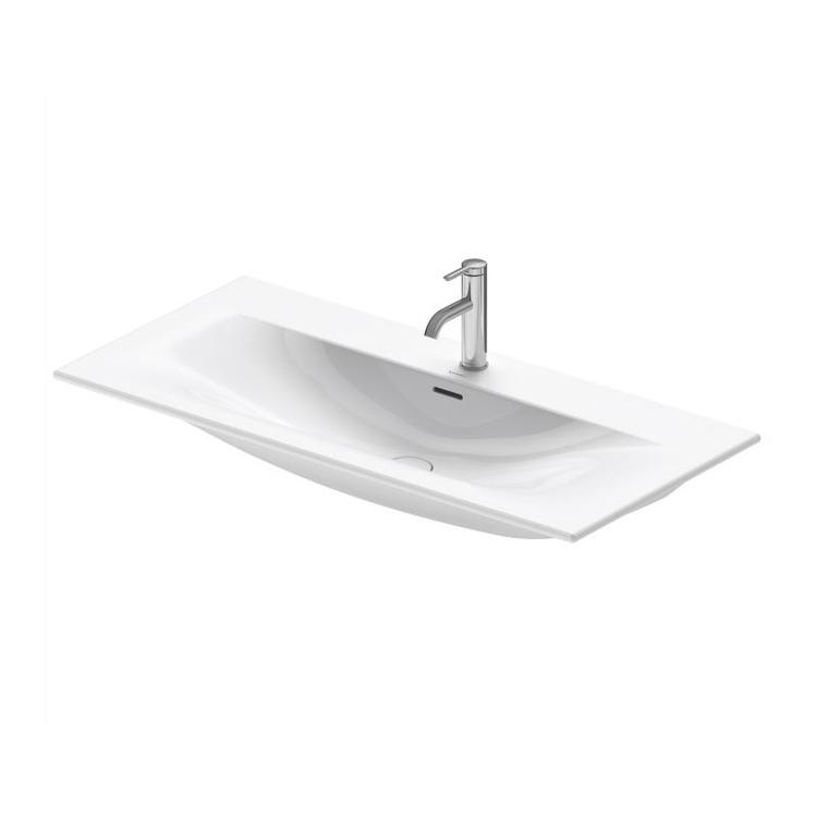 Duravit VIU lavabo consolle 103 cm, monoforo, con troppopieno, con bordo per rubinetteria, lato inferiore smaltato, colore bianco 2344100000