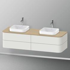 Immagine di Duravit HAPPY D.2 PLUS base sottolavabo sospesa per consolle 160 cm, 4 cassetti, cassetto superiore con scasso per il sifone e coprisifone, colore bianco Nordic finitura opaco HP4974B3939