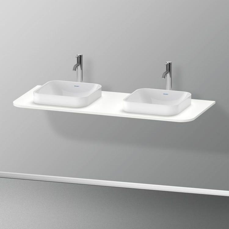Immagine di Duravit HAPPY D.2 PLUS consolle con due tagli per lavabo 130 cm, per basi sottolavabo con consolle, colore bianco finitura opaco HP032KB3636