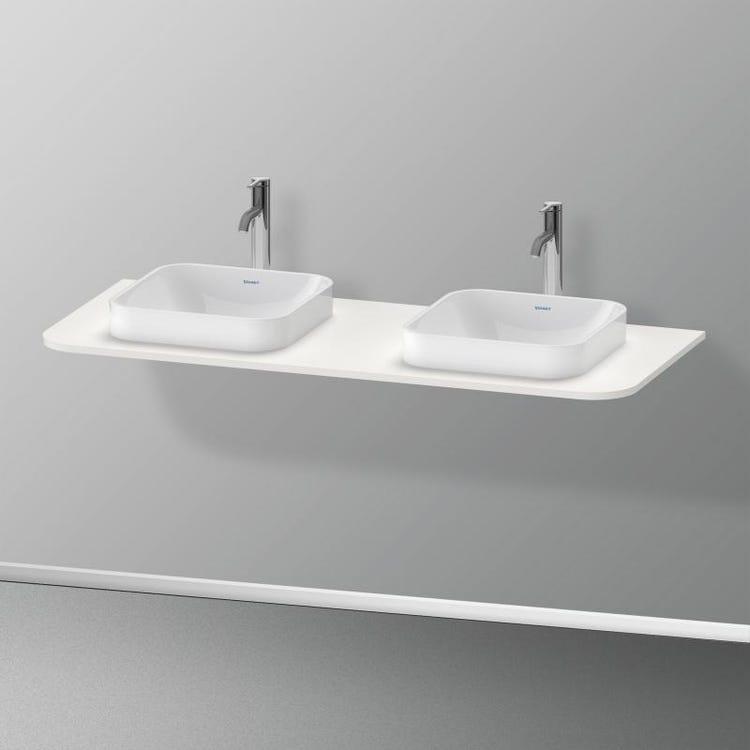 Immagine di Duravit HAPPY D.2 PLUS consolle con due tagli per lavabo 130 cm, per basi sottolavabo con consolle, colore bianco Nordic finitura opaco HP032KB3939