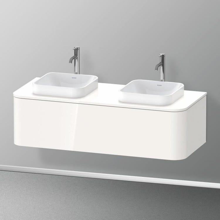 Duravit HAPPY D.2 PLUS base sottolavabo sospesa 130 cm per consolle, 1 elemento estraibile, colore bianco finitura lucido HP4943B2222