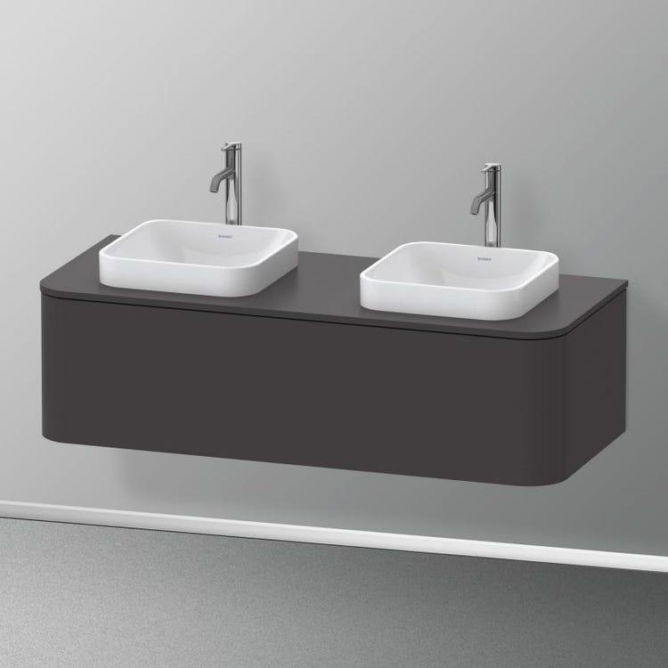 Duravit HAPPY D.2 PLUS base sottolavabo sospesa 130 cm per consolle, 1 elemento estraibile, colore grigio grafite finitura opaco HP4943B8080
