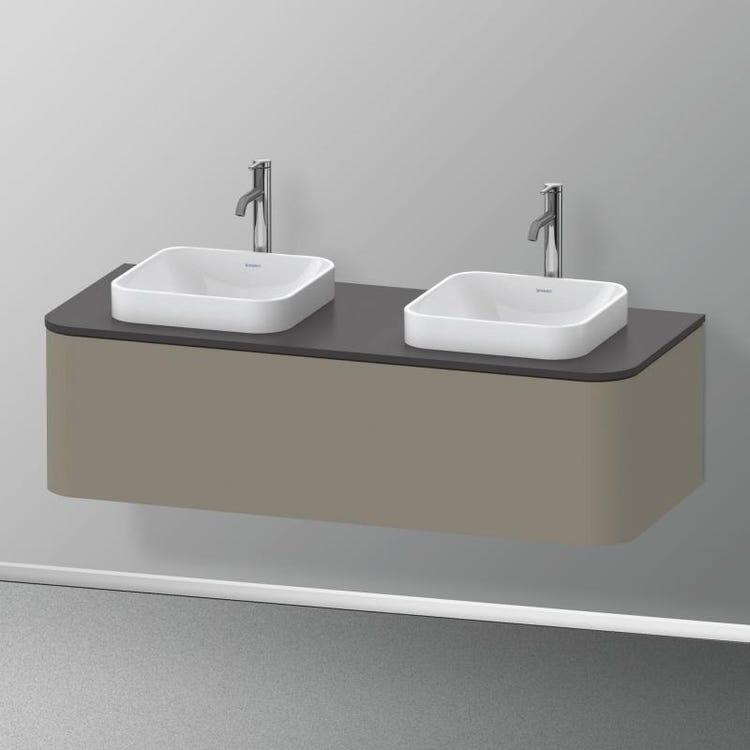 Duravit HAPPY D.2 PLUS base sottolavabo sospesa 130 cm per consolle, 1 elemento estraibile, colore grigio pietra finitura opaco HP4943B9292
