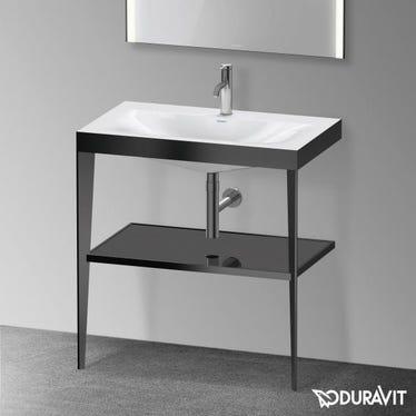 Duravit XVIU sostegno metallico 80 cm colore nero finitura opaco, ripiano in vetro colore nero finitura lucido, lavabo consolle c-bonded monoforo XV4715OB240