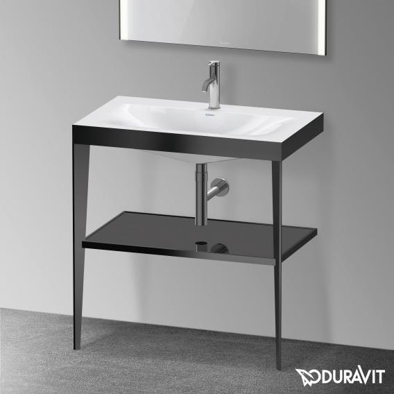 Immagine di Duravit XVIU sostegno metallico 80 cm colore nero finitura opaco, ripiano in vetro colore nero finitura lucido, lavabo consolle c-bonded monoforo XV4715OB240