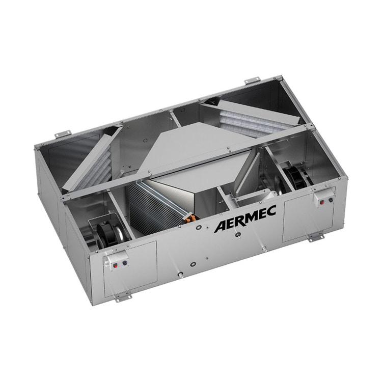 Aermec RPLI Unità di recupero calore a flussi in controcorrente ad alta pressione statica utile con batteria ad acqua e motore Inverter  RPLI070PW