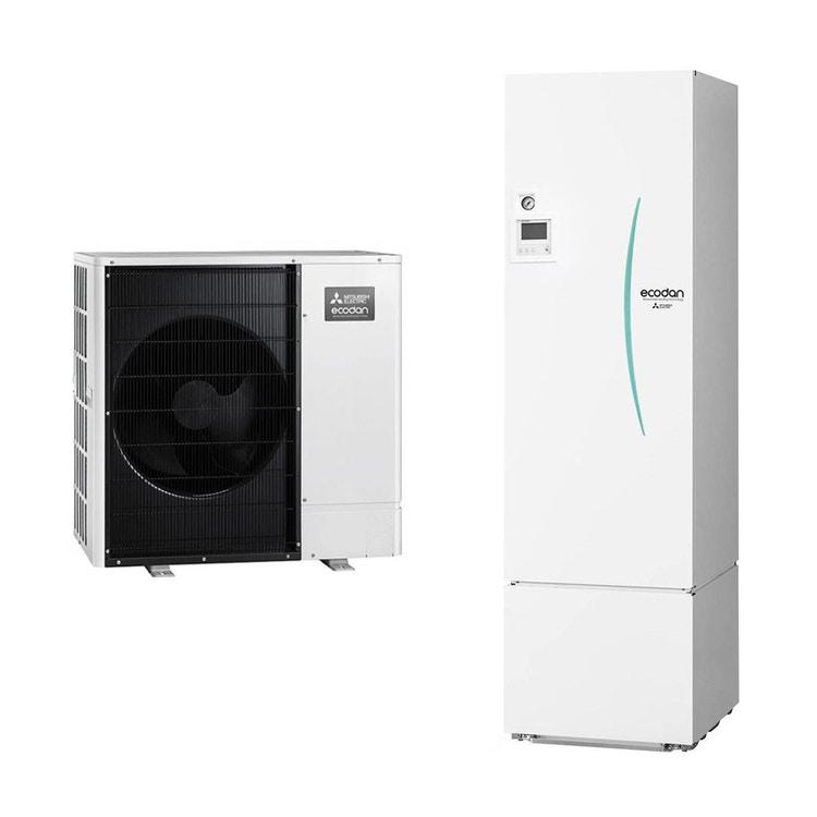 Mitsubishi SPLIT Sistema idronico composto da pompa di calore Inverter ECODAN 8 kW con HYDROTANK SMALL reversibile 300 litri PUHZ-SW75VAA+ERST30D-VM2ED