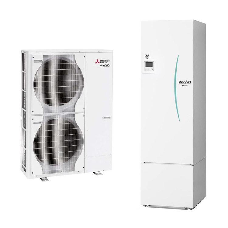 Mitsubishi SPLIT Sistema idronico composto da pompa di calore Inverter ECODAN 16 kW trifase con HYDROTANK MEDIUM reversibile 300 litri PUHZ-SW120YHA+ERST30C-VM2ED