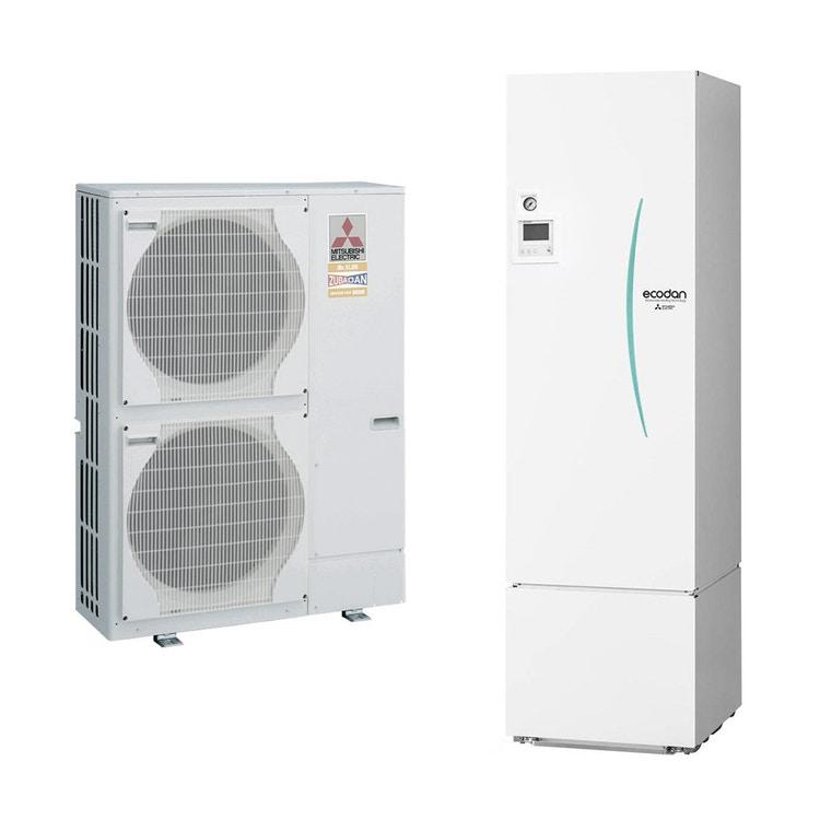 Mitsubishi SPLIT Sistema idronico composto da pompa di calore Inverter ZUBADAN 14 kW trifase con HYDROTANK MEDIUM reversibile 300 litri PUHZ-SHW140YHA+ERST30C-VM2ED