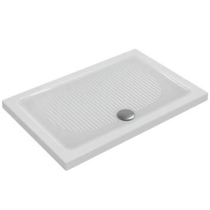 Immagine di Ideal Standard CONNECT piatto doccia rettangolare L.120 P.80 cm, per installazione sopra o filo pavimento, colore bianco T267901