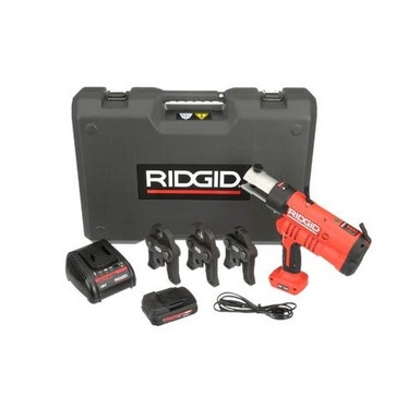Ridgid RP 340-B Pressatrice a batteria completo di ganasce V 15-18-22 mm, caricabatteria da 230V, batteria A Li-Ion 18V 2.0 e cassetta di trasporto  43243