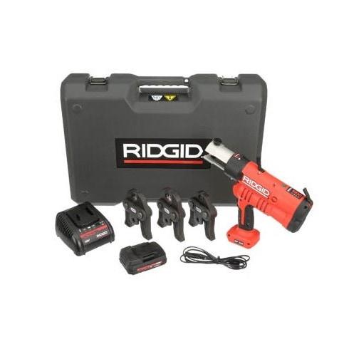 Immagine di Ridgid RP 340-B Pressatrice a batteria completo di ganasce V 15-18-22 mm, caricabatteria da 230V, batteria A Li-Ion 18V 2.0 e cassetta di trasporto  43243