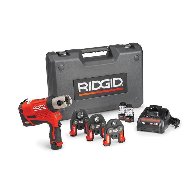 Immagine di Ridgid RP 240 Pressatrice a batteria completo di ganasce RF16-20-25 mm, con 2 batterie Litio Advanced 12 V 2.5 Ah, 1 Caricabatterie Veloce e Cassetta 59223