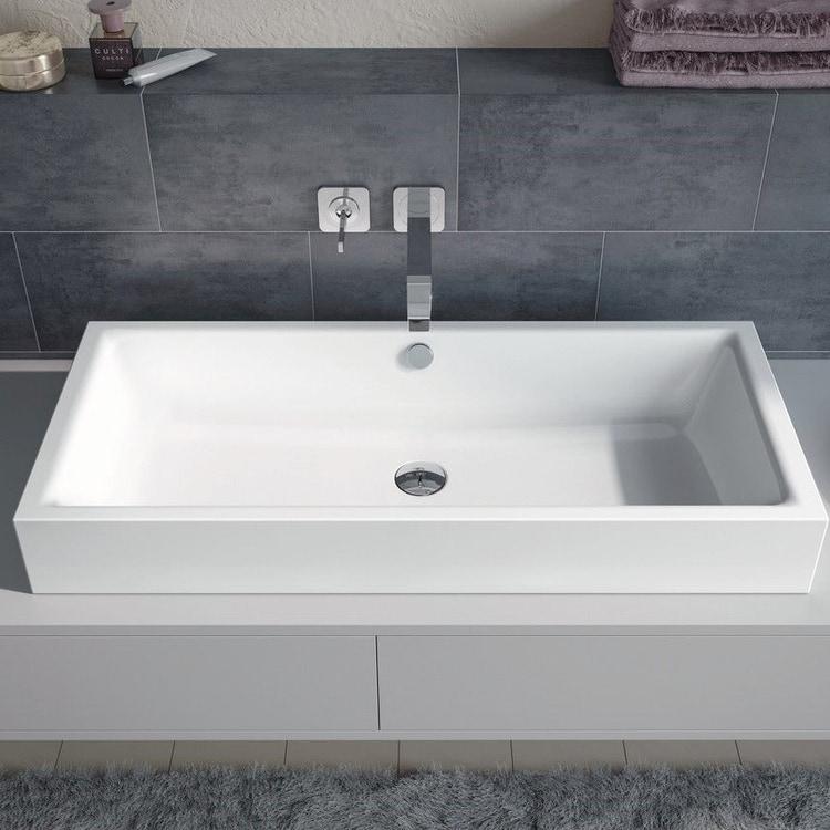 Kaldewei PURO S lavabo da appoggio 90x38.5 cm altezza del bordo 4 cm, senza foro per rubinetto con troppopieno, colore bianco 909006003001