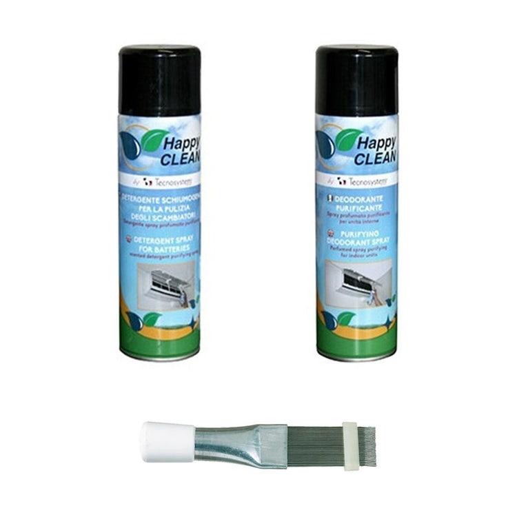 Tecnosystemi KIT sanificazione e manutenzione climatizzatore composto da spray detergente, spay deodorante e pettine per alette in acciaio KITSAN02