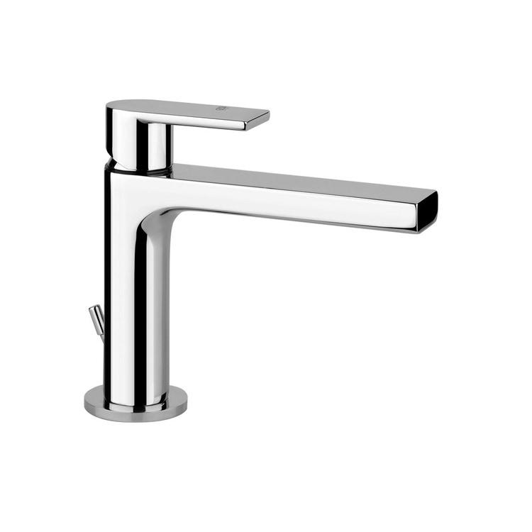 Gessi VIA MANZONI miscelatore lavabo H.15 cm, con scarico e flessibili di collegamento, finitura finox brushed nickel 38601#149