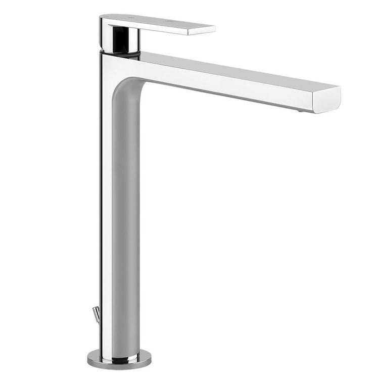 Gessi VIA MANZONI miscelatore lavabo H.30 cm, con scarico e flessibili di collegamento, finitura finox brushed nickel 38604#149