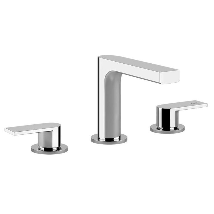 Gessi VIA MANZONI gruppo lavabo tre fori con scarico, con flessibili di collegamento, finitura finox brushed nickel 38612#149
