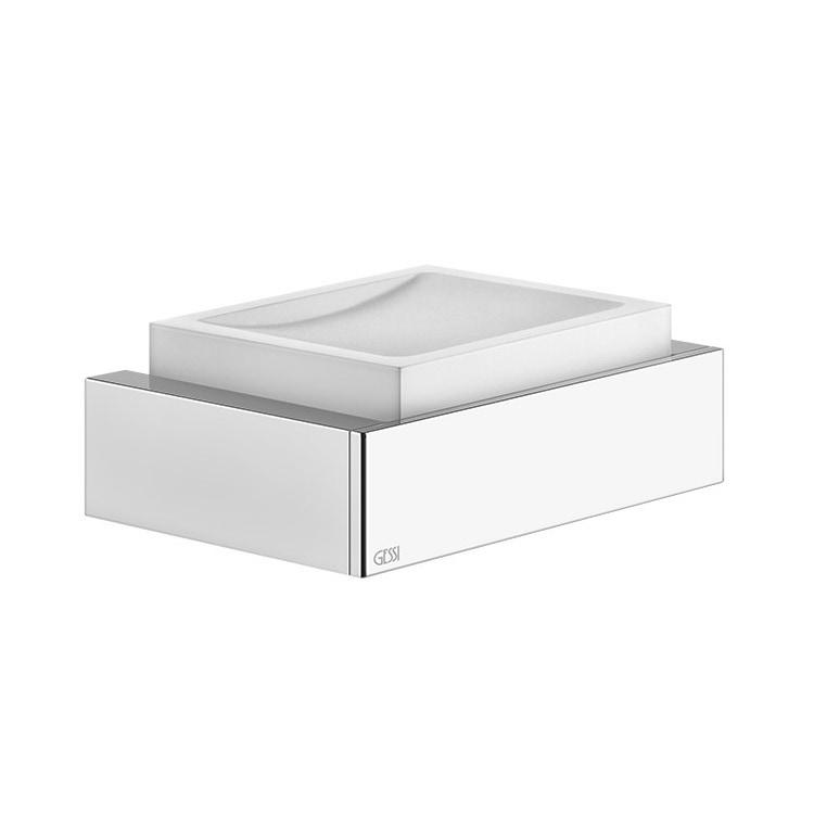 Gessi RETTANGOLO ACCESSORI porta sapone a parete bianco, finitura cromo 20801#031