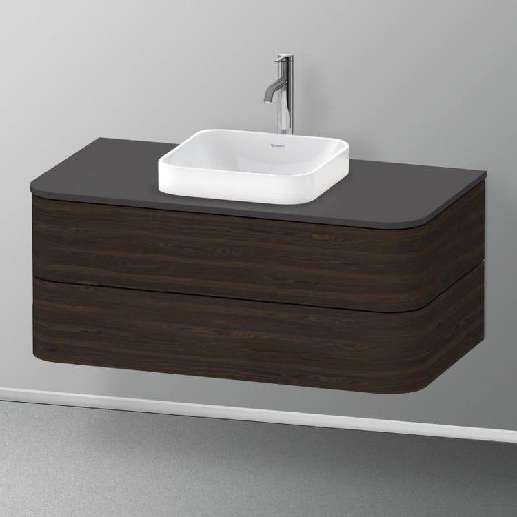 Immagine di Duravit HAPPY D.2 PLUS base sottolavabo sospesa per lavabi Happy D.2 Plus, 100 cm, 2 cassetti, cassetto superiore con scasso per il sifone e coprisifone, finitura noce spazzolato HP497106969