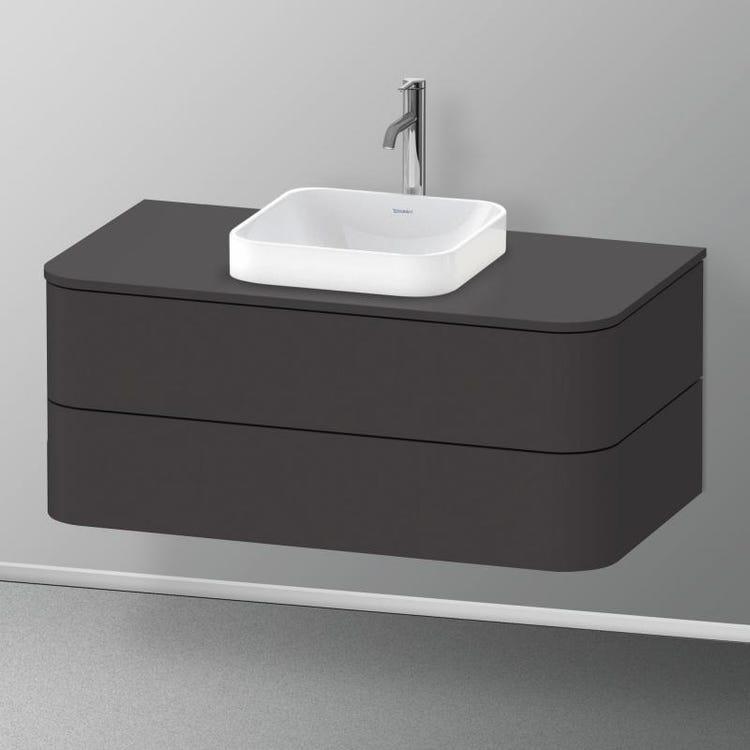 Duravit HAPPY D.2 PLUS base sottolavabo sospesa per lavabi Happy D.2 Plus, 100 cm, 2 cassetti, cassetto superiore con scasso per il sifone e coprisifone, colore grigio grafite finitura opaco HP497108080