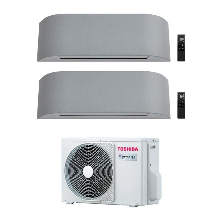 Toshiba HAORI R32 Climatizzatore a parete dual split inverter Wi-Fi light gray | unità esterna 4 kW unità interne 10000+10000 BTU RAS-2M14U2AVG-E+RAS-B[25|25]N4KVRG-E