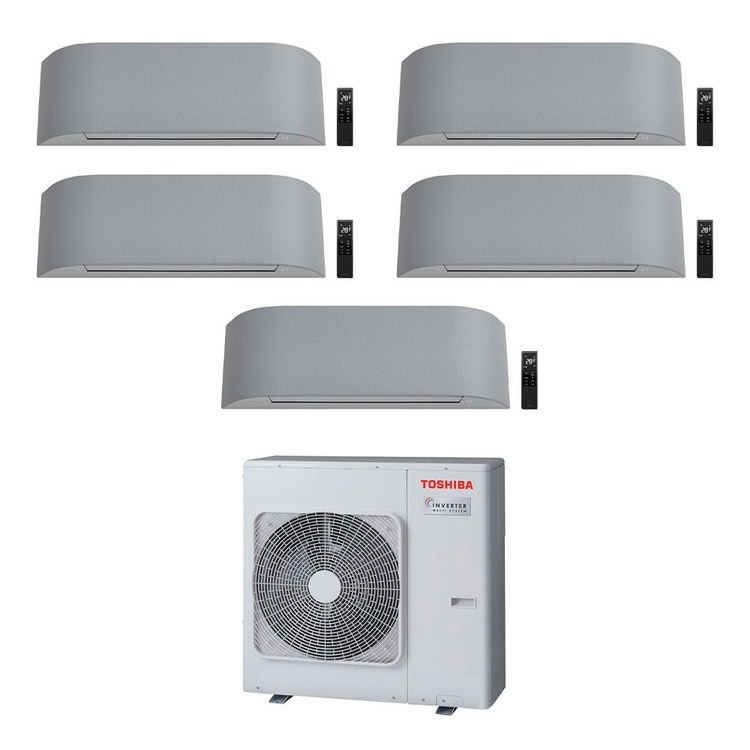 Toshiba HAORI R32 Climatizzatore a parete penta split inverter Wi-Fi light gray | unità esterna 10 kW unità interne 10000+10000+10000+10000+13000 BTU RAS-5M34U2AVG-E+RAS-B[25|25|25|25|35]N4KVRG-E