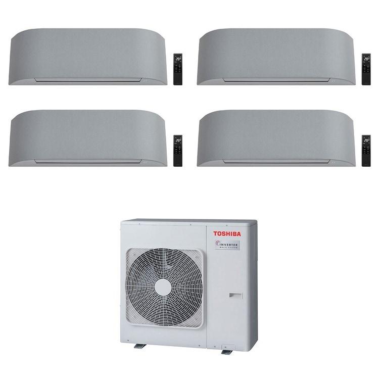 Toshiba HAORI R32 Climatizzatore a parete quadri split inverter Wi-Fi light gray | unità esterna 8 kW unità interne 10000+10000+10000+10000 BTU RAS-4M27U2AVG-E+RAS-B[25|25|25|25]N4KVRG-E