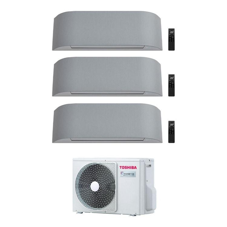 Toshiba HAORI R32 Climatizzatore a parete trial split inverter Wi-Fi light gray | unità esterna 5.2 kW unità interne 10000+10000+13000 BTU RAS-3M18U2AVG-E+RAS-B[25|25|35]N4KVRG-E