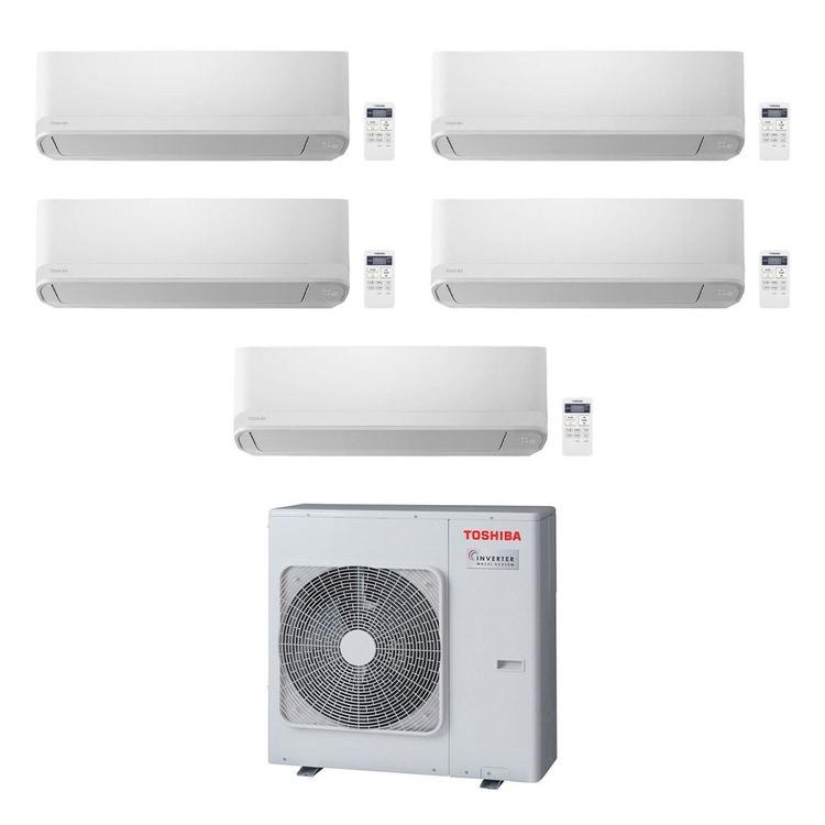 Toshiba SEIYA R32 Climatizzatore a parete penta split inverter bianco | unità esterna 10 kW unità interne 5000+5000+13000+16000+16000 BTU RAS-5M34U2AVG-E+RAS-B[15|15|33|42|42]J2KVG-E