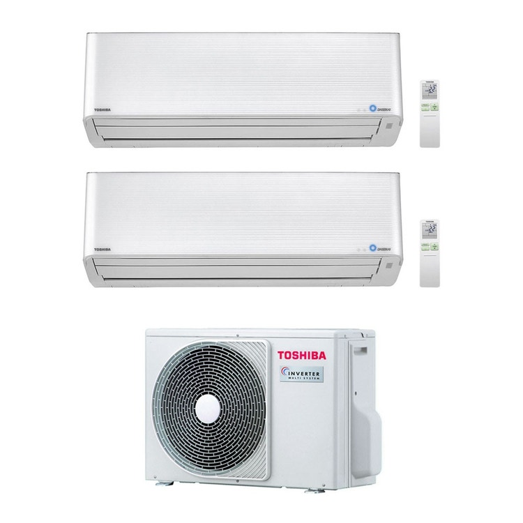 Toshiba SUPER DAISEIKAI 9 R32 Climatizzatore a parete dual split inverter bianco | unità esterna 4 kW unità interne 10000+10000 BTU RAS-2M14U2AVG-E+RAS-M[25|25]PKVPG-E
