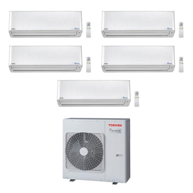 Toshiba SUPER DAISEIKAI 9 R32 Climatizzatore a parete penta split inverter bianco | unità esterna 10 kW unità interne 10000+10000+10000+10000+13000 BTU RAS-5M34U2AVG-E+RAS-M[25|25|25|25|35]PKVPG-E