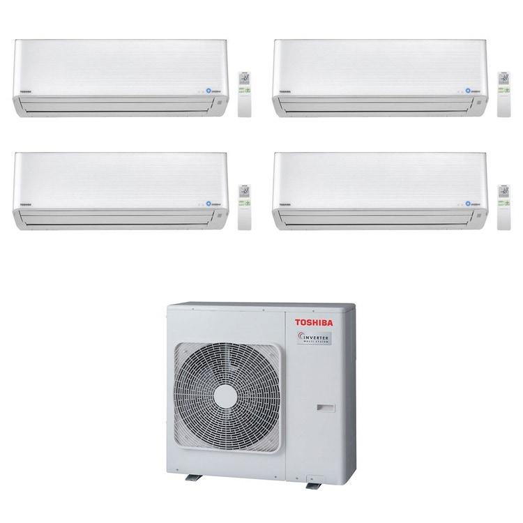 Toshiba SUPER DAISEIKAI 9 R32 Climatizzatore a parete quadri split inverter bianco | unità esterna 8 kW unità interne 10000+10000+10000+16000 BTU RAS-4M27U2AVG-E+RAS-M[25|25|25|45]PKVPG-E
