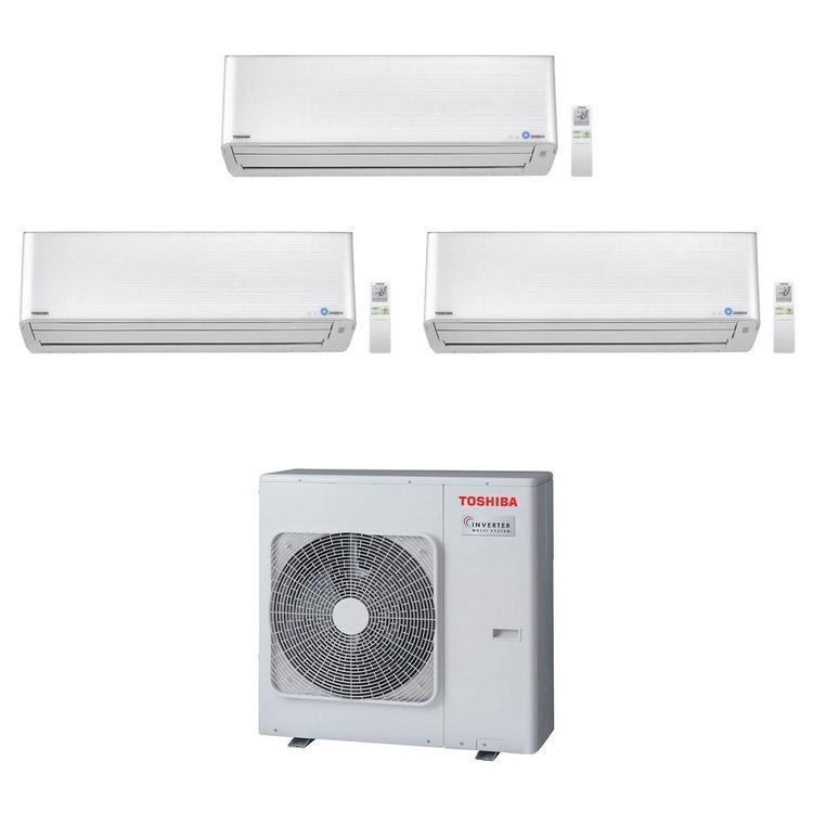 Toshiba SUPER DAISEIKAI 9 R32 Climatizzatore a parete trial split inverter bianco | unità esterna 7.5 kW unità interne 10000+13000+13000 BTU RAS-3M26U2AVG-E+RAS-M[25|35|35]PKVPG-E