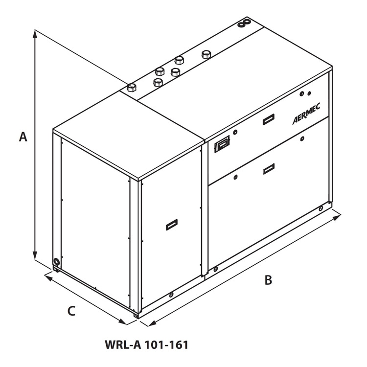 Aermec WRL Pompa di calore condensata ad acqua reversibile lato gas trifase, con recuperatore di calore  WRL161XH°T°°°°°