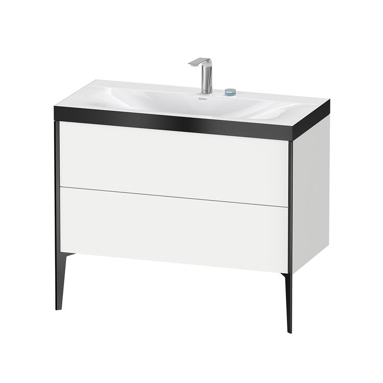 Immagine di Duravit XVIU lavabo consolle c-bonded, con base sottolavabo a pavimento 100 cm, profilo colore nero, lavabo consolle Viu incluso, senza troppopieno, con bordo per rubinetteria, colore bianco finitura opaco XV4711EB218P