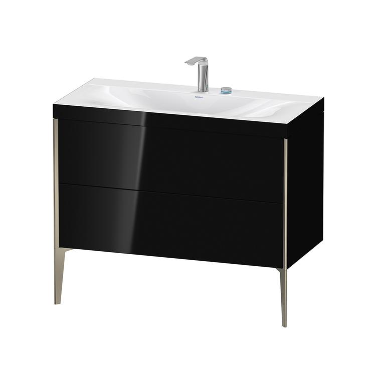 Immagine di Duravit XVIU lavabo consolle c-bonded, con base sottolavabo a pavimento 100 cm, profilo colore champagne, lavabo consolle Viu incluso, senza troppopieno, con bordo per rubinetteria, colore nero finitura lucido XV4711EB140C