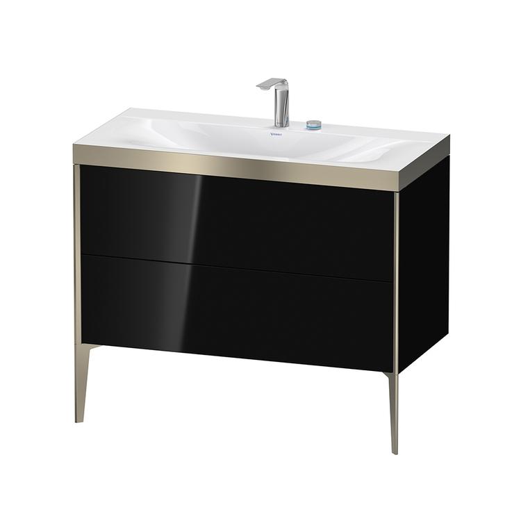 Immagine di Duravit XVIU lavabo consolle c-bonded, con base sottolavabo a pavimento 100 cm, profilo colore champagne, lavabo consolle Viu incluso, senza troppopieno, con bordo per rubinetteria, colore nero finitura lucido XV4711EB140P
