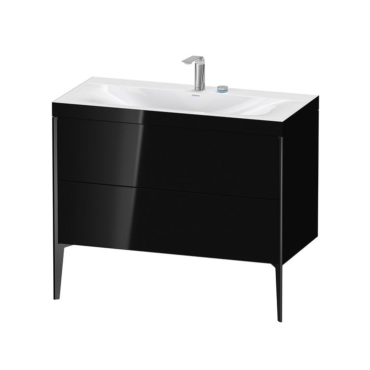 Immagine di Duravit XVIU lavabo consolle c-bonded, con base sottolavabo a pavimento 100 cm, profilo colore nero, lavabo consolle Viu incluso, senza troppopieno, con bordo per rubinetteria, colore nero finitura lucido XV4711EB240C