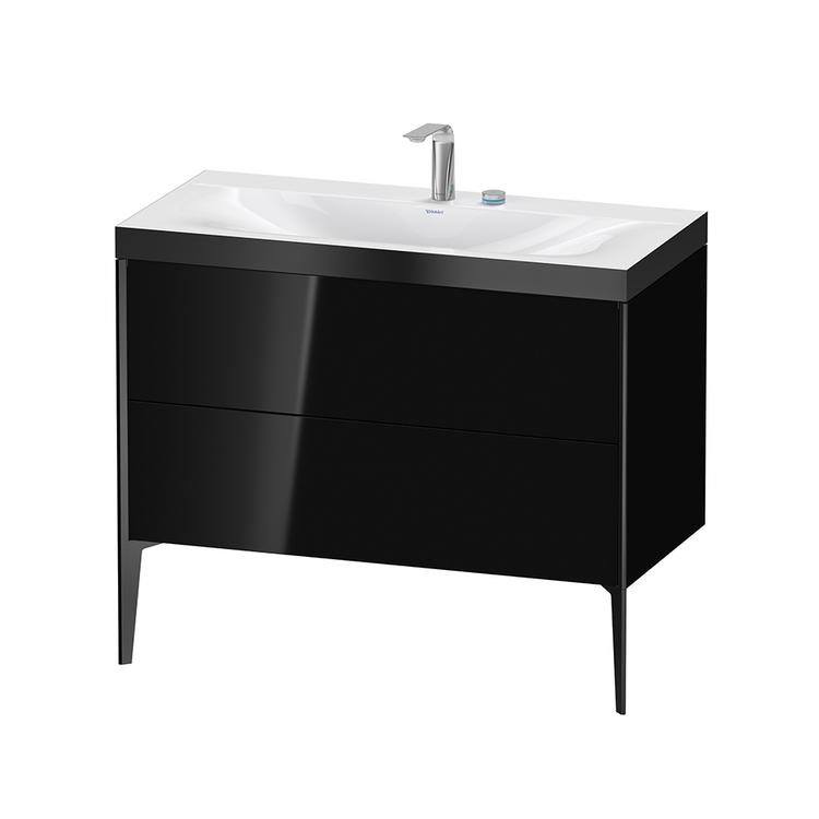 Immagine di Duravit XVIU lavabo consolle c-bonded, con base sottolavabo a pavimento 100 cm, profilo colore nero, lavabo consolle Viu incluso, senza troppopieno, con bordo per rubinetteria, colore nero finitura lucido XV4711EB240P