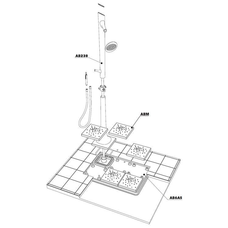 Immagine di Flaminia ALBERO sistema doccia L.118 P.79 cm a destra AB238/C+AB6AD+ABM