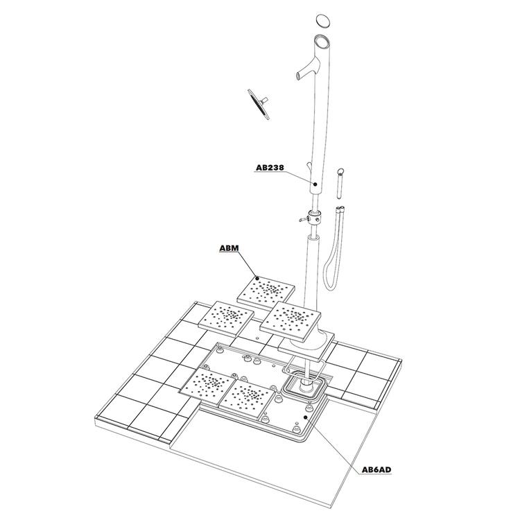 Flaminia ALBERO sistema doccia L.118 P.79 cm a sinistra AB238/C+AB6AS+ABM