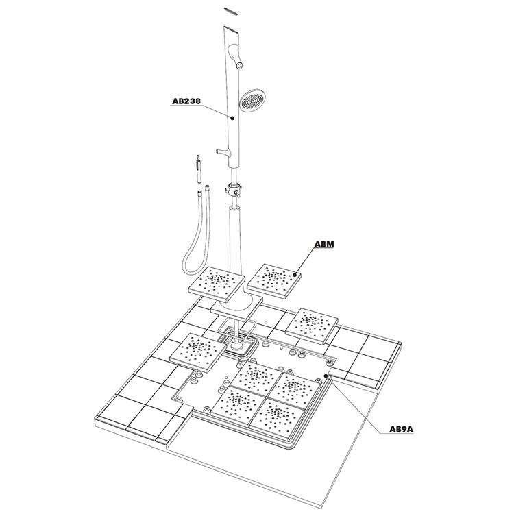Flaminia ALBERO sistema doccia 118 cm AB238/C+AB9M+ABM