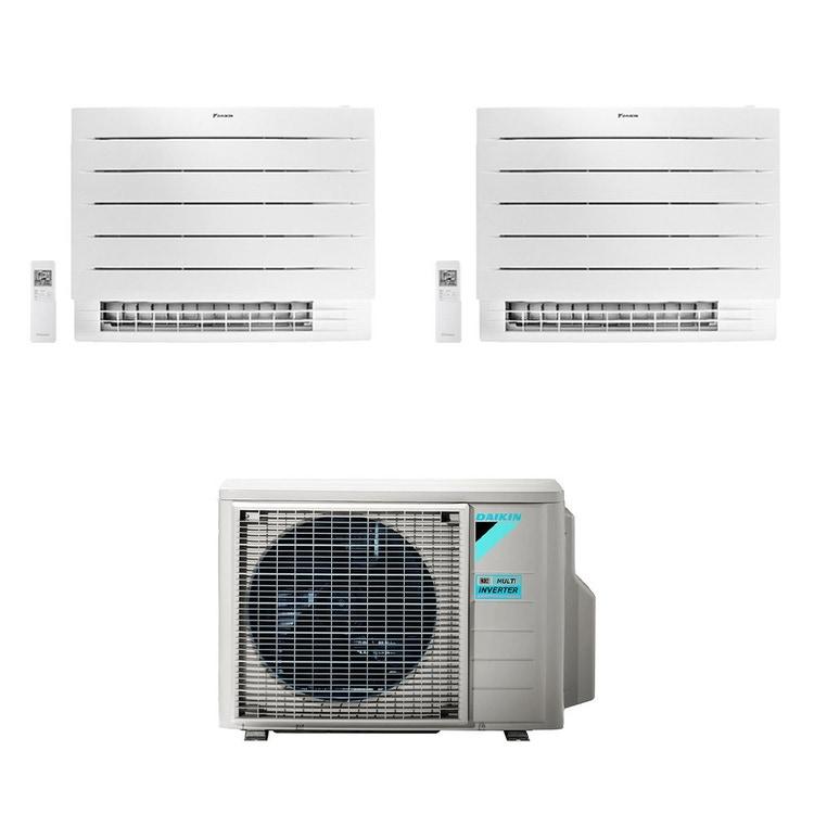Daikin PERFERA Pavimento FVXM-A R32 Climatizzatore a pavimento dual split inverter Wi-Fi bianco | unità esterna 5 kW unità interne 9000+18000 BTU 2MXM50N+FVXM[25|50]A