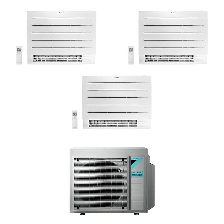 Daikin PERFERA Pavimento FVXM-A R32 Climatizzatore a pavimento trial split inverter Wi-Fi bianco | unità esterna 4 kW unità interne 7000+7000+9000 BTU 3MXM40N8+CVXM[20|20]A+FVXM[25]A