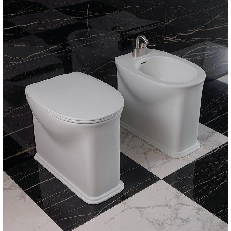 Flaminia MADRE set sanitari back to wall, vaso con sistema goclean® e coprivaso slim con discesa rallentata, bidet monoforo con troppopieno, colore bianco finitura lucido MA117G+MA217+MACW05