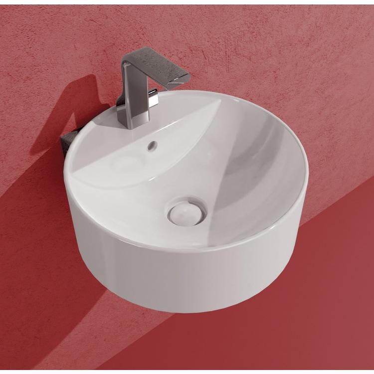 Flaminia TWIN SET SLIM 42 lavabo 42 cm sospeso, monoforo, con troppopieno, con staffa di fissaggio a parete, colore bianco finitura lucido TW42S+TS01/42