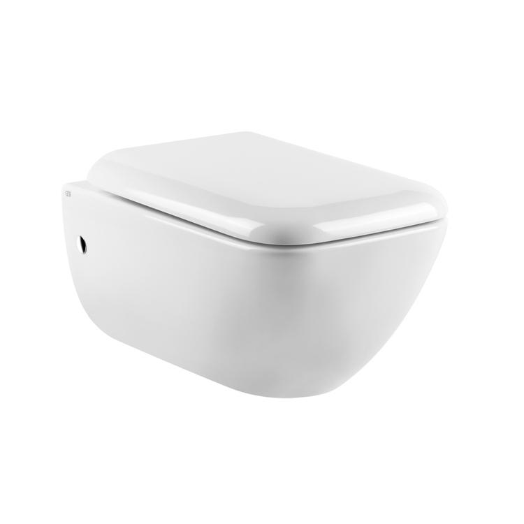 Gessi TOTAL LOOK vaso sospeso, sedile con chiusura rallentata e coprifori laterali cromo, colore bianco finitura lucido 39113#518