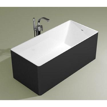 Flaminia WASH 150 vasca 150 cm in pietraluce, freestanding, interno colore bianco finitura lucido, esterno colore carbone finitura opaco MW150CAB